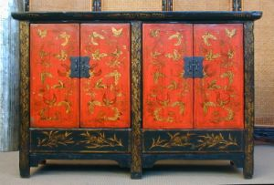 Antique Painted Wooden Cabinet with 4 Doors Lwc401-3 pictures & photos