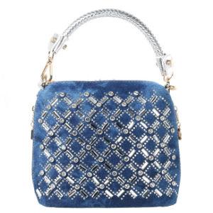 2015 Silver Metal Chain Fashion Tote Mini Bag / Shoulder Full Fake Diamond Bag, Designer Bule Denim Handbag (HD26-005)