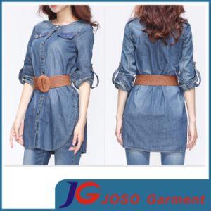 Leather Belt Waisted Long Women Denim Fashion Jean Jacket (JC4060) pictures & photos