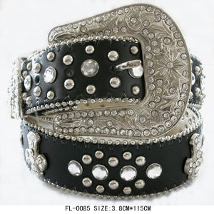 Studded Belt with Cross and Rhinestone Fl-0085