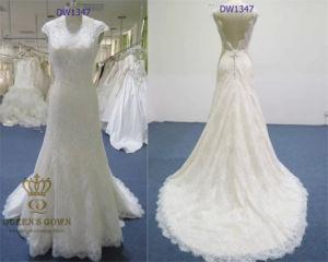 A-Line/Princess V-Back Lace Wedding Dress with Court Train (DW1347)