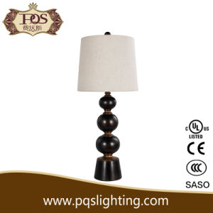 Modern Design Wooden Table Lamp with Fabric Shade (P0051TA)