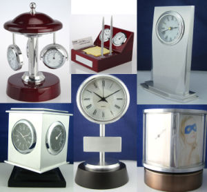 Skeleton Clock Kit Office Wooden Desk Clock K8027g for Business Gift Set pictures & photos