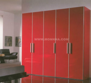Red Lacquer Wardrobe with ISO and E1 Standard