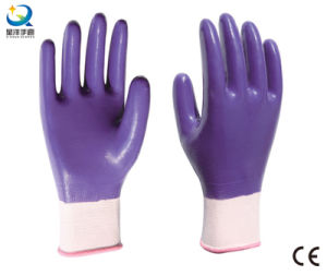13G Nitrile Polyester Shell, Purple Nitrile Full Coated, Work Gloves (N6043) pictures & photos
