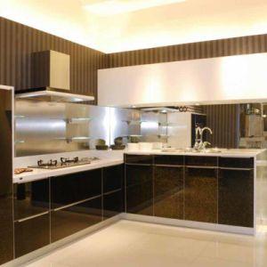 China classic black white high gloss paint kitchen for High gloss black kitchen cabinets