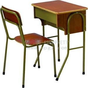 Antique School Furniture Fixed Single Student Desk & Chair pictures & photos