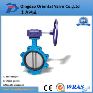 Dn150 Double Flange Aluminum Body Pneumatic Butterfly Valve pictures & photos