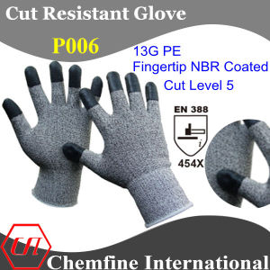13G PE Knitted Glove with NBR Coated Fingertip/ En388: 454X pictures & photos