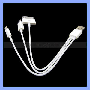 Multi-Function 3 in 1 USB Charging Cable for iPhone 5 5s/ iPhone 4/4s Samsung S4/ HTC