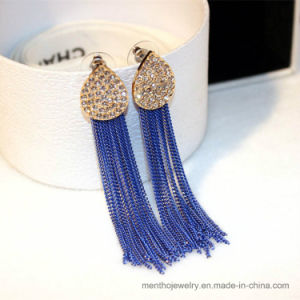Wholesale Fashion Jewelry Rhinestone Water Drop Chain Tassel Stud Earring pictures & photos