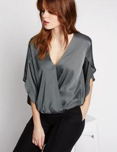High Quality Wrap V-Neck Split Sleeve Blouse pictures & photos