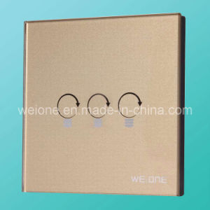 RF Radio Frequency Gold Tempered Glass 3 Way Remote Control Light Switch (L11903-SDS)
