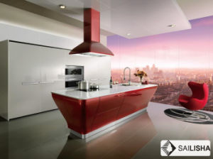 UV Spain Modern Home Hotel Furniture Island Wood Kitchen Cabinet pictures & photos