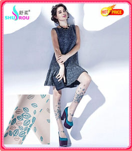 Fashion Sexy 20d Printing Leafs Tights Pantyhose Leggings Silk Socks Stockings for Women (SR-1270)
