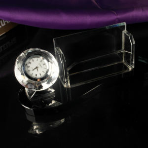 Crystal Blank Gift High Quality Art Crystal Desk Clock Glass Clock pictures & photos