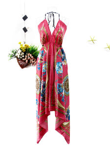 Woman Plus Size Fuchsia Printed Celebrity Evening Dress (EF D2045)