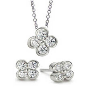 Sterling Silver Flower Earrings and Pendant Necklace Jewelry Set