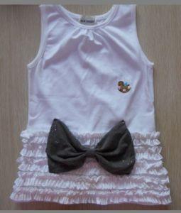 Girls Pink Fashion Dress, Kids Knitting Shirt with Ribbon. 100%Cotton Pink Shirt