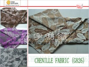 Jacquard Chenille Leaf Pattern Yarn Dyed Sofa Fabric pictures & photos