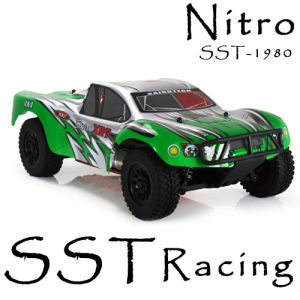 RC Car, RC Nitro Rally Car, 1/10 Scale Nitro Power Short Course Rally Truck (SST-1980 Green Body)