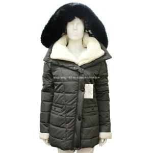Ladies 75D Fake Memory Winter Long Coat with Fur Hoody pictures & photos