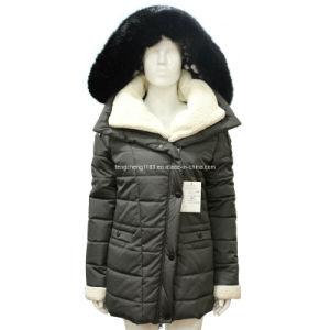 Ladies 75D Fake Memory Winter Long Coat with Fur Hoody