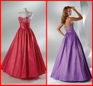 Elegant Strapless a-Line Taffeta Embroidery Evening Dresses Party Night Prom Dress 1357