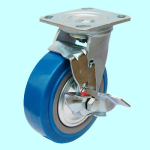 Swive PU Caster with Dual Brake (Blue) pictures & photos