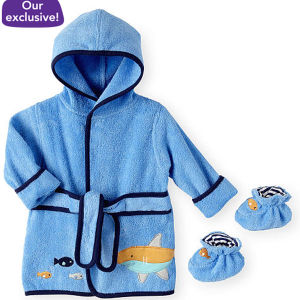 Shark Pttn Baby Boys Booties and Bath Robe pictures & photos