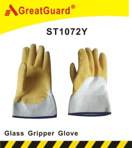 Open Back Glass Gripper Glove (ST1072Y) pictures & photos