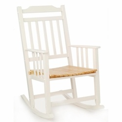 Porch And Deck Rocker In White And Natural (MMW036)