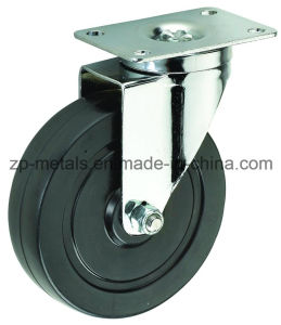 Biaxial Middle-Size Black Rubber Swivel Caster Wheels pictures & photos