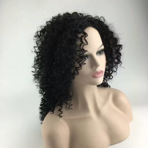Top Quality Fiber Curly Wigs Synthetic Lace Front Wigs 180% Density Black Color Heat Resistant Synthetic Hair Wigs pictures & photos