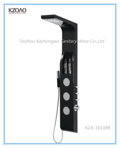 Kza-16108r Matte Black Aeronautical Material Shower Panel with Shelf pictures & photos