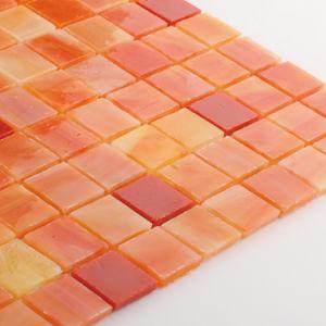 Never Fade Decorative Orange Bathroom Glass Tiles Mosaic pictures & photos