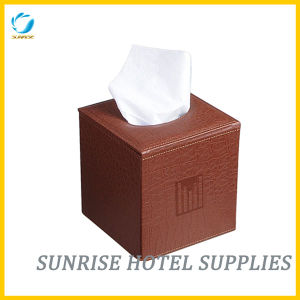 Hotel Brown Leather Square Tissue Box Tissue Holder pictures & photos