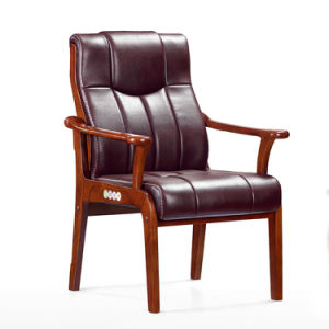 Solid Wood Oak Arms Leather Conference Meeting Guest Chair pictures & photos