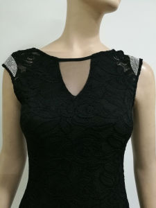2017 New Fashion Black Capsleeve Lace Dress Slim Mini Short Sexy Party Club Dress pictures & photos