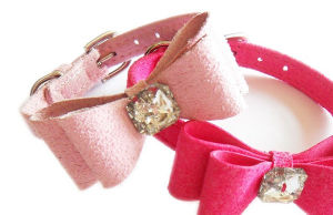 Pink Bow Puppy Collar, Leather Pet Collar Supply pictures & photos