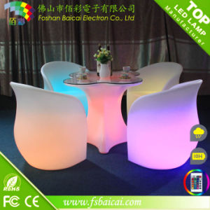 Glowing Luxurious LED Outdoor Furniture with Table and Chair