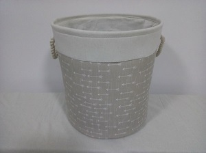 Canvas Round Laundry Hamper with Rope Handle at 2 Side and EVA Inside