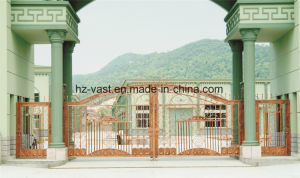 Haohan High-Quality Exterior Security Decorative Wrought Iron Fence Door 15 pictures & photos