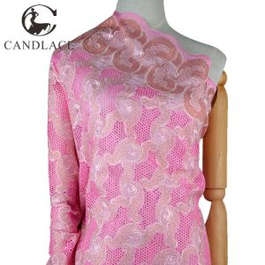 Pink Color Nylon Cotton Lace Fabric for Women pictures & photos