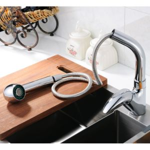FLG Pull out Chrome Finish Kitchen Sink Tap Solid Brass pictures & photos
