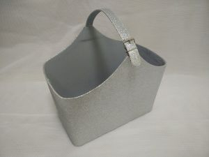 Silver Glitter Faux Leather Magazine Basket with Non-Woven Fabric Inside