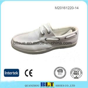 White Comfortable Lace-up Closure Canvas Shoes for Men pictures & photos