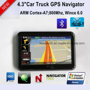 "New 4.3"" Car Potable Dash GPS Navigator with Bluetooth, FM Transmitter, Tmc, ISDB-T TV Function, AV-in for Parking Camera, Map with Speed Camera GPS-4313 pictures & photos"