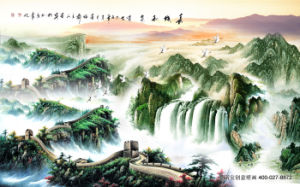 Grand Prospect Painting with The Symbol of Eagle and Great High Tall Mountains and Villages in The Scenery Model No.: Wl-0217 pictures & photos