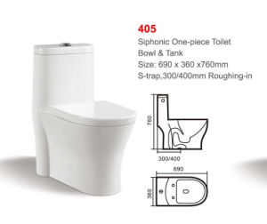 405 White Siphonic One-Piece Toilet pictures & photos